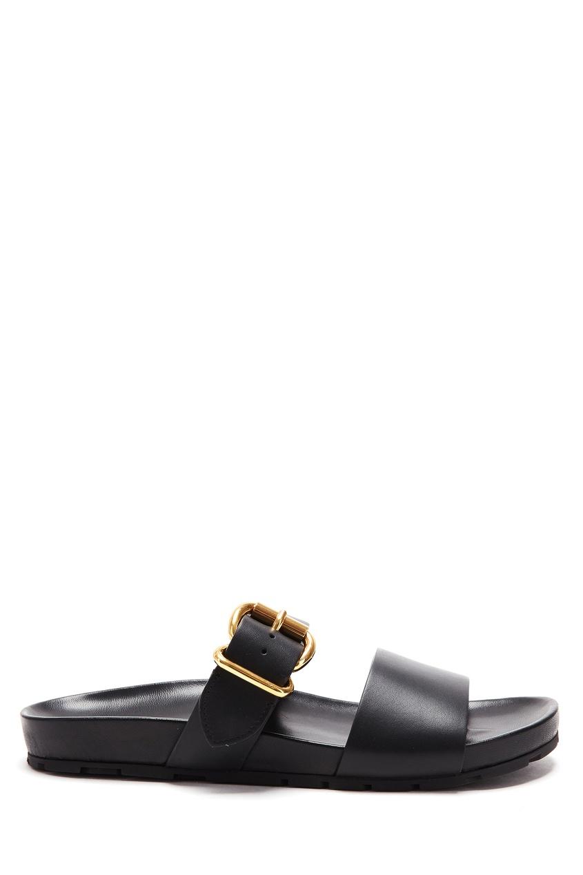 Купить Черные сандалии с золотистой пряжкой от Prada черного цвета