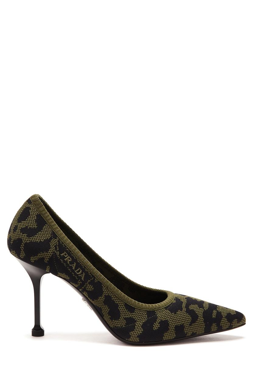 Купить Туфли цвета хаки с принтом от Prada зеленого цвета