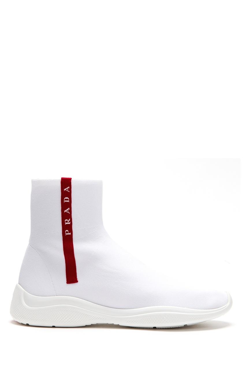 Купить Красно-белые текстильные хайтопы от Prada белого цвета