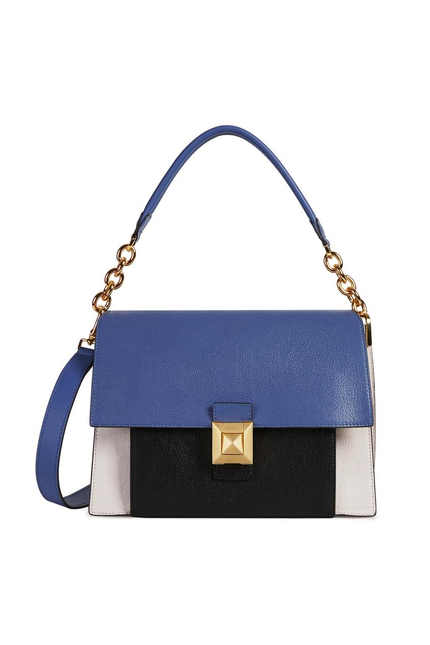 Купить Кожаная сумка Diva с комбинированным дизайном бежевого цвета