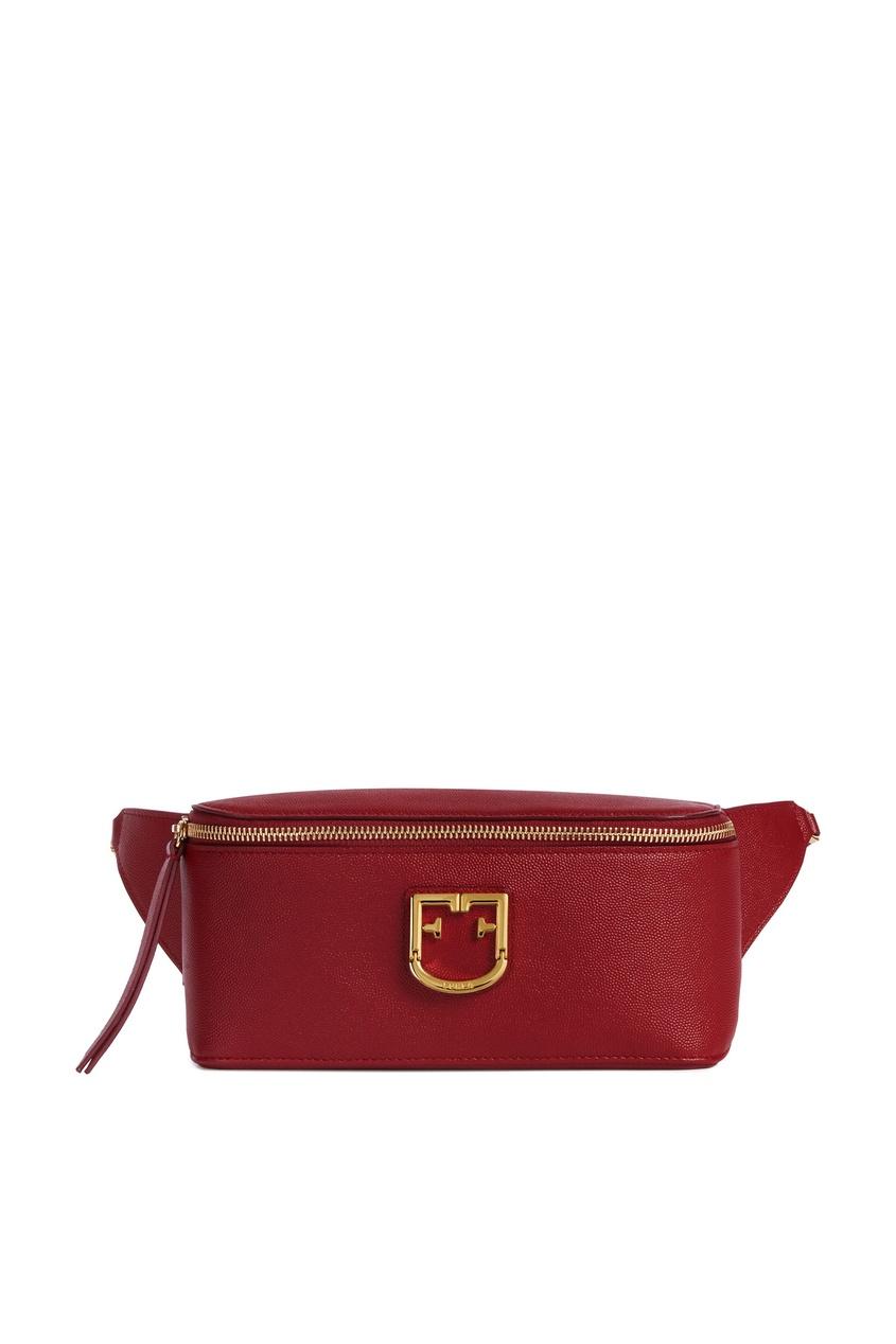 Купить Бордовая сумка на пояс красного цвета