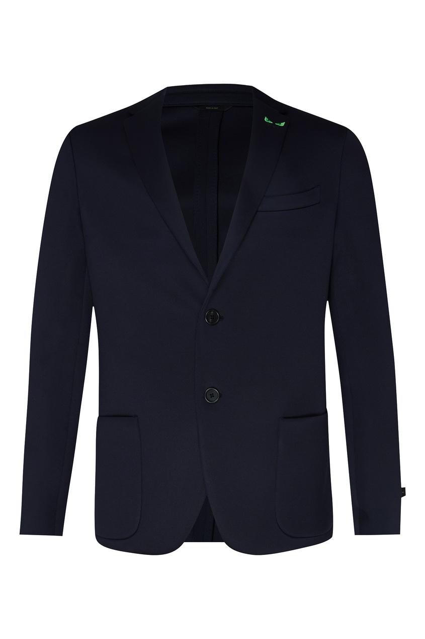 Классический синий пиджак с декором на лацкане Fendi
