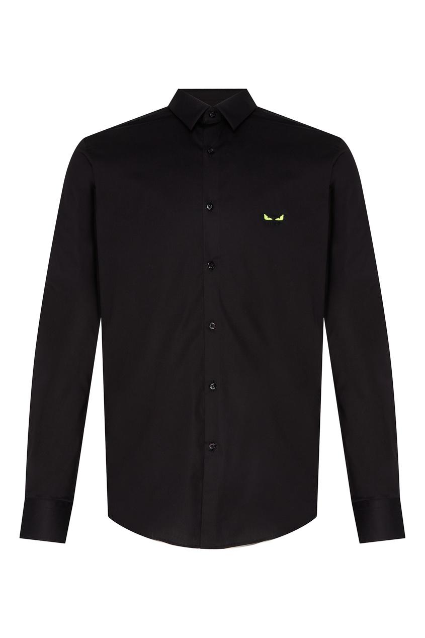 Купить Мужская черная хлопковая рубашка от Fendi черного цвета