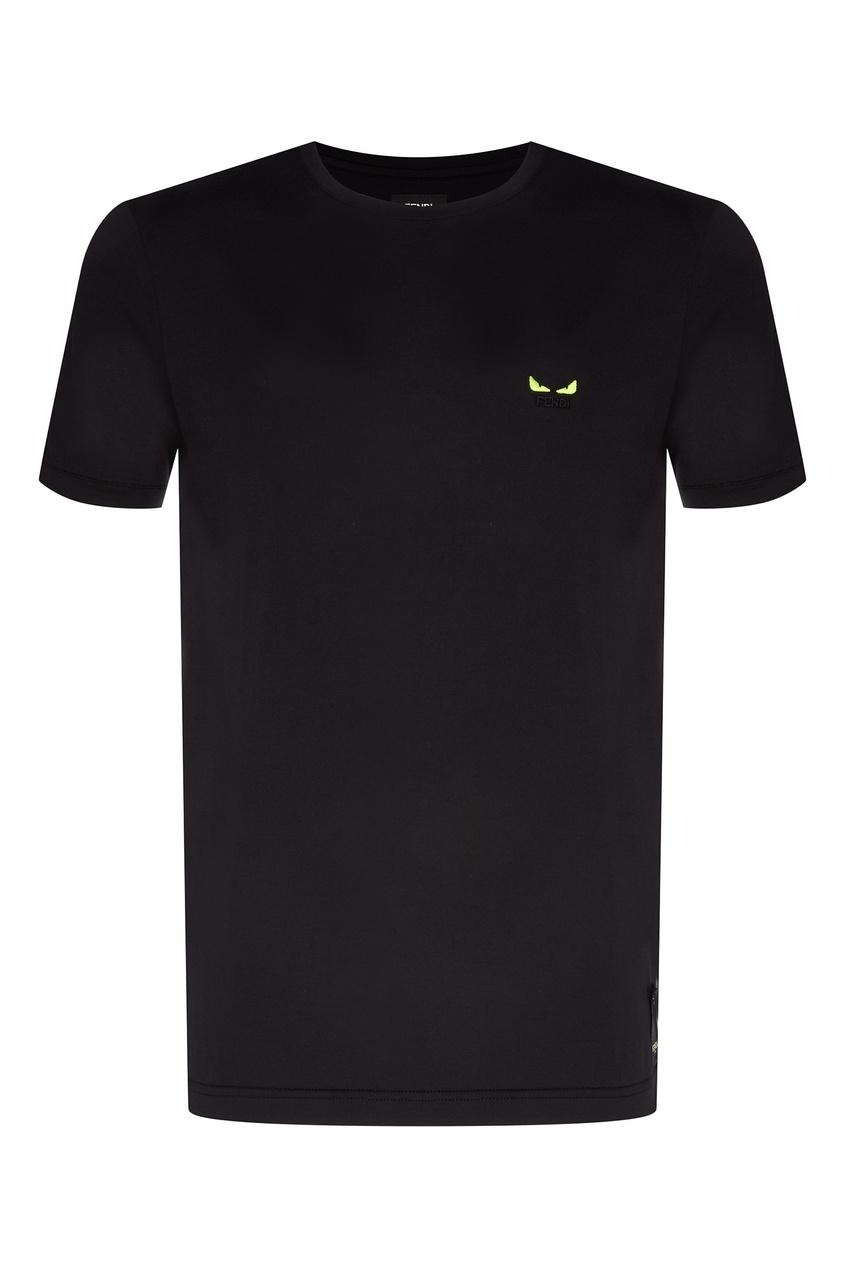 Купить Классическая черная футболка с маленьким рисунком от Fendi черного цвета