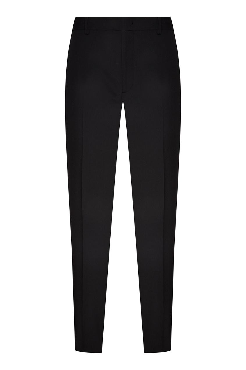 Купить Классические черные шерстяные брюки со скрытым рисунком от Fendi черного цвета