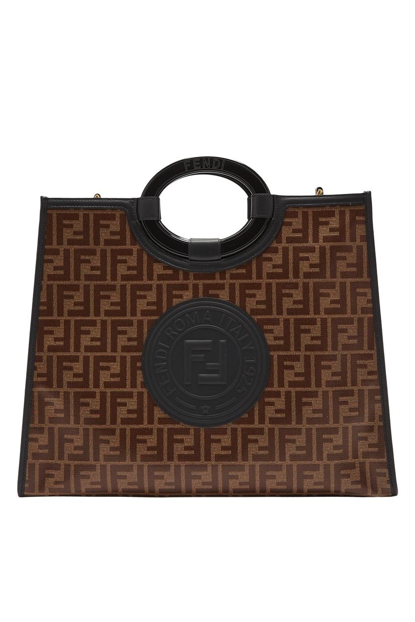 Купить Сумку Runaway из текстиля от Fendi коричневого цвета