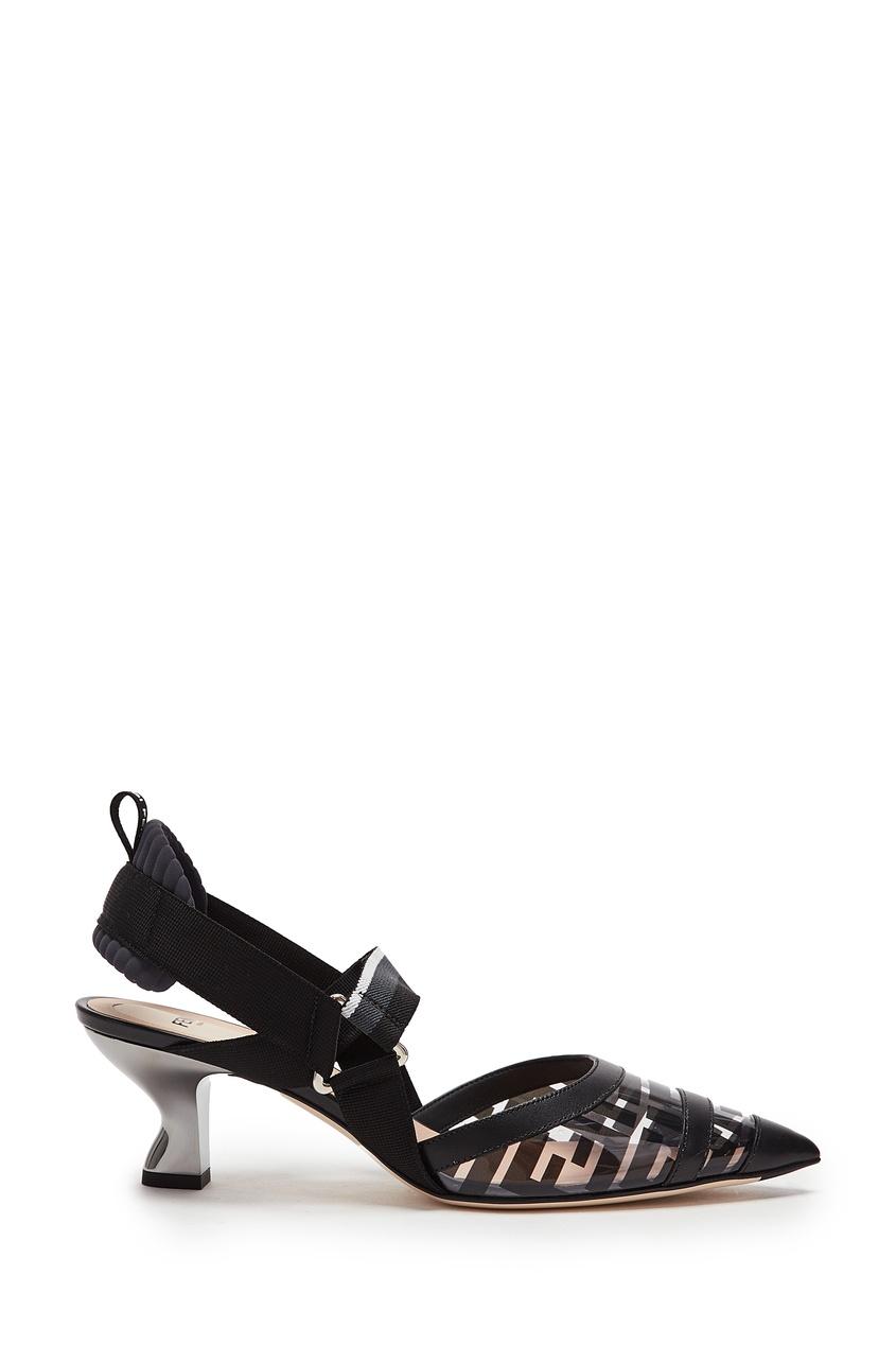 Купить Черные полупрозрачные слингбэки Colibrì от Fendi черного цвета