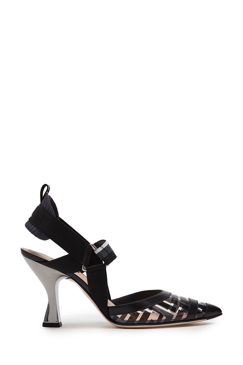 Купить Черные слингбэки на каблуке Colibrì от Fendi черного цвета