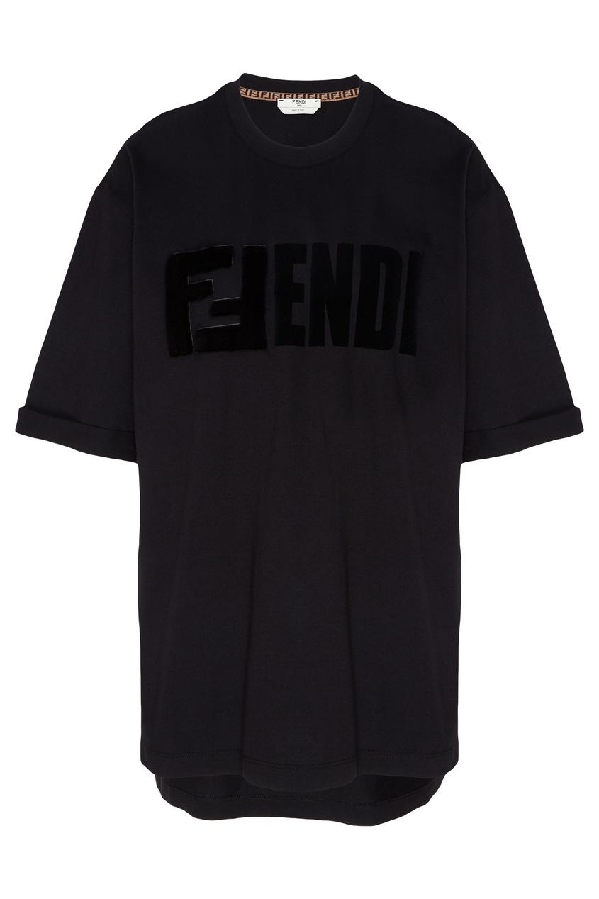 Купить Хлопковая футболка черного цвета от Fendi черного цвета