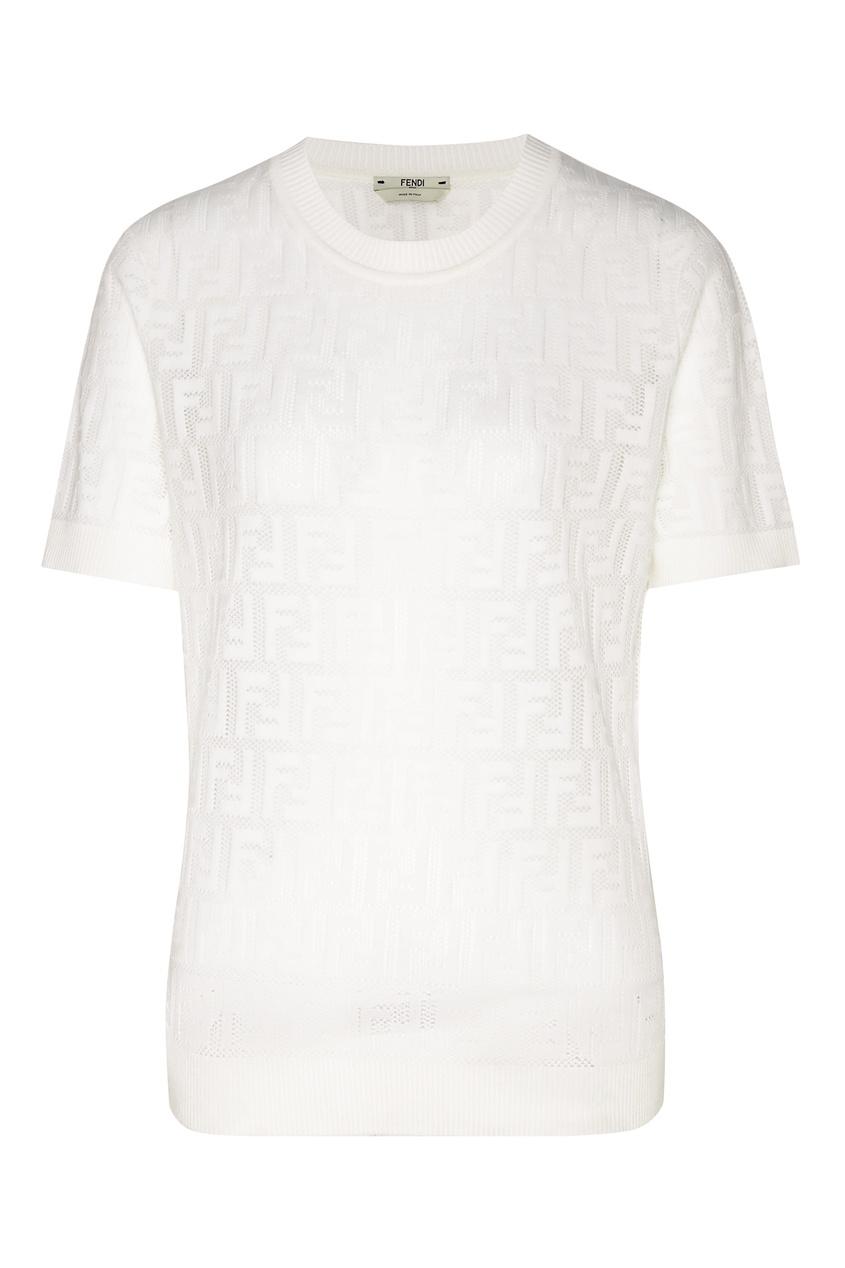 Купить Белый трикотажный топ с монограммами от Fendi белого цвета