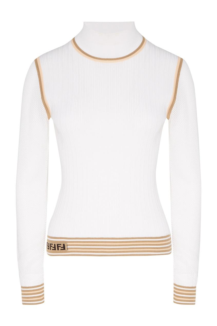 Купить Шелковый джемпер с сетчатыми рукавами от Fendi белого цвета