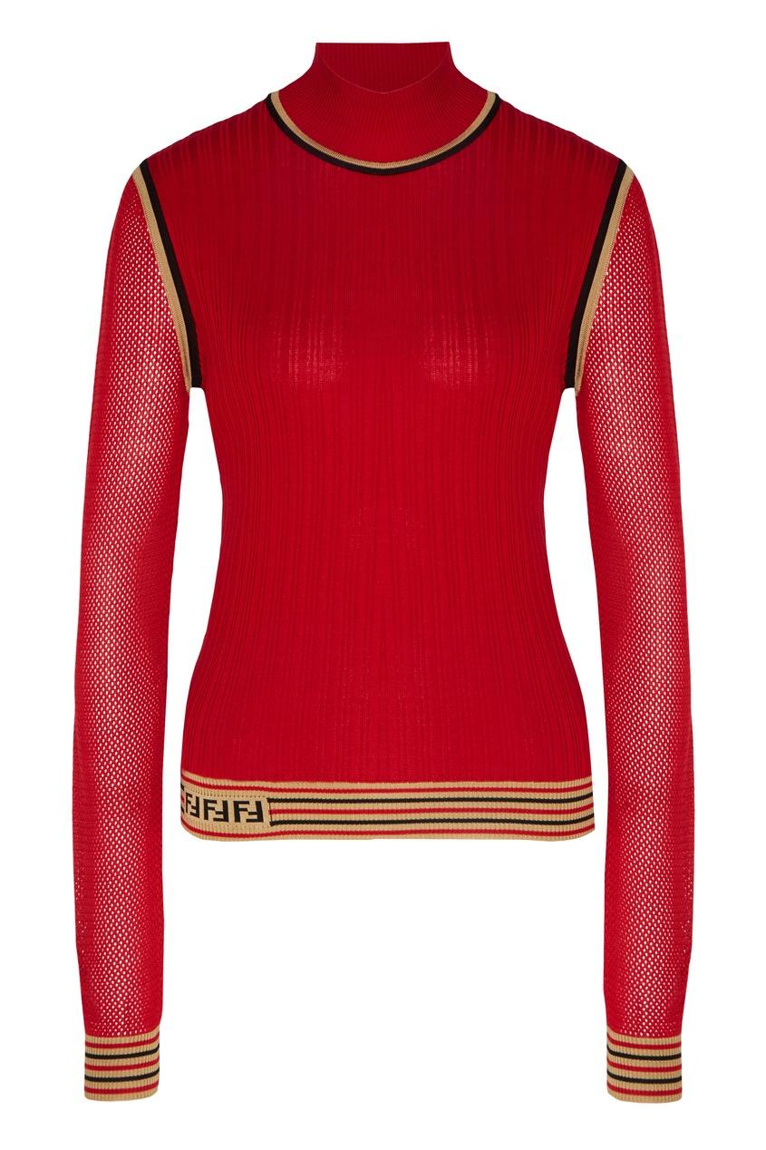 Красный джемпер с сетчатыми рукавами от Fendi
