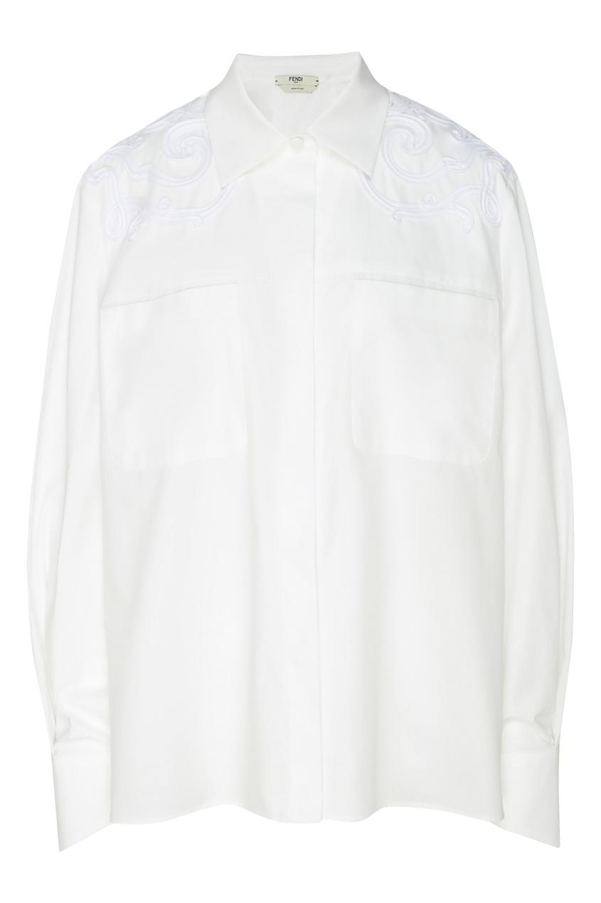Купить Белая рубашка с фигурной вышивкой от Fendi белого цвета