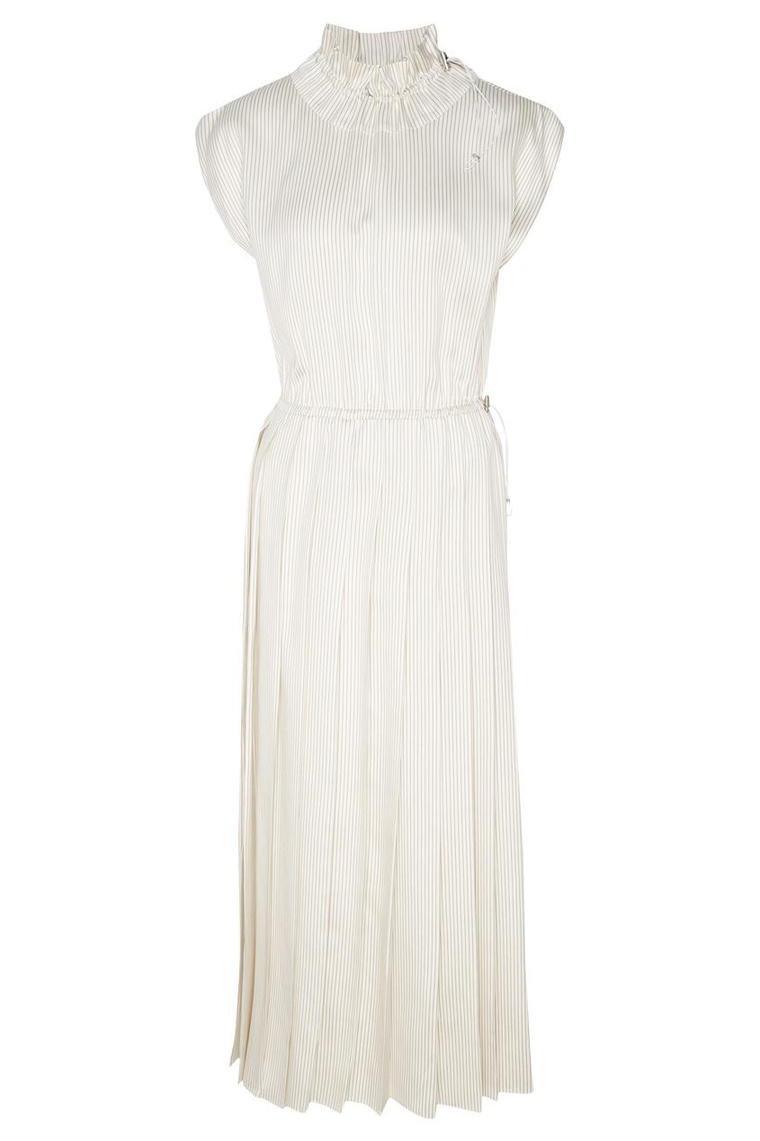 Купить Длинное платье в полоску от Fendi белого цвета