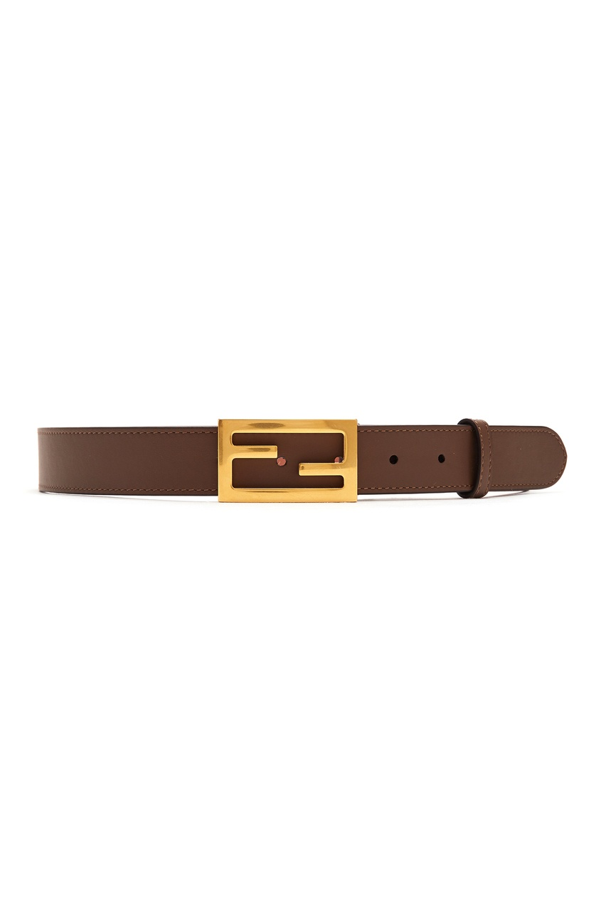 Купить Коричневый ремень с монограммой от Fendi коричневого цвета