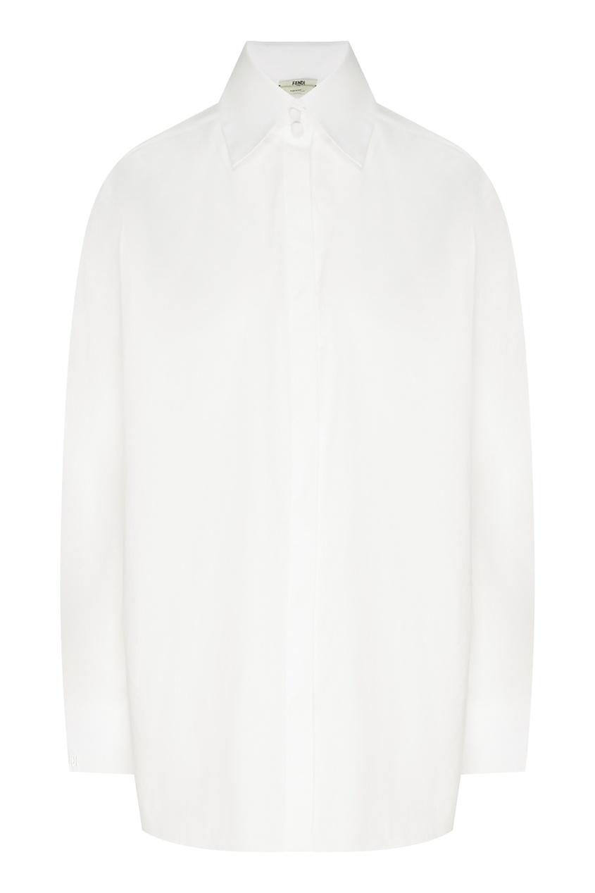 Купить Белая хлопковая рубашка с длинным рукавом от Fendi белого цвета