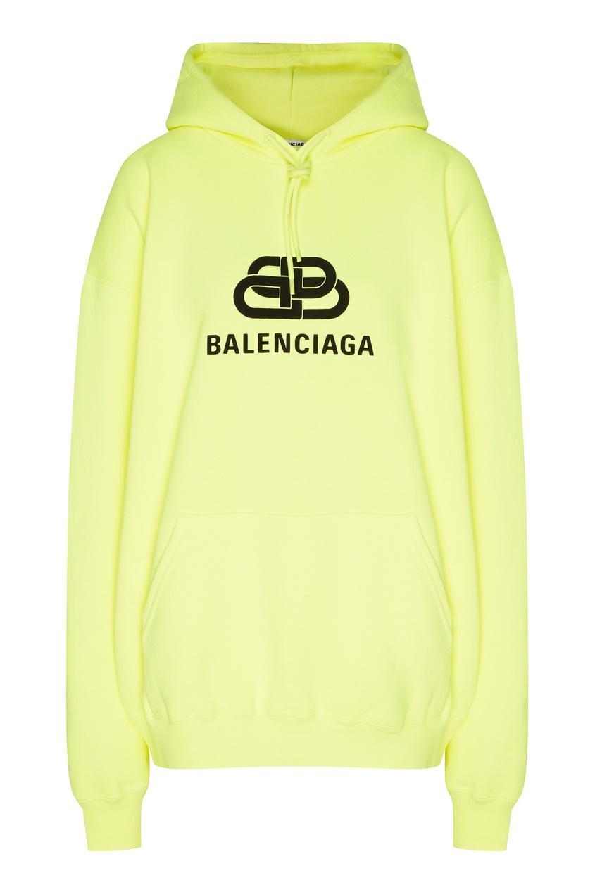 Неоново-желтое худи с логотипом BB