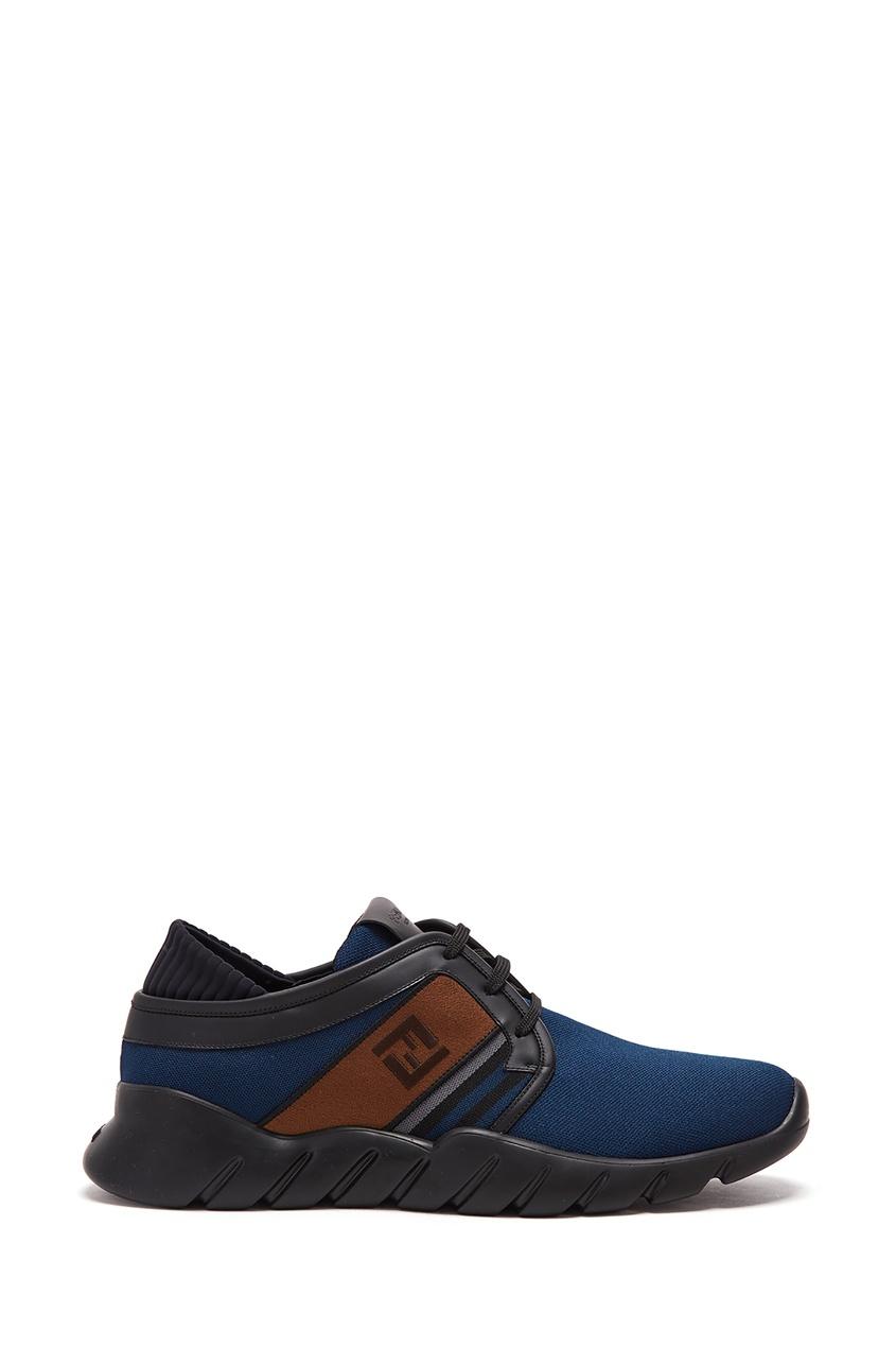 Сникеры синего цвета с коричневыми текстильными вставками