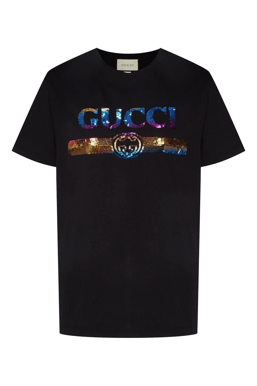 Черная футболка свободного кроя с принтом на груди от Gucci