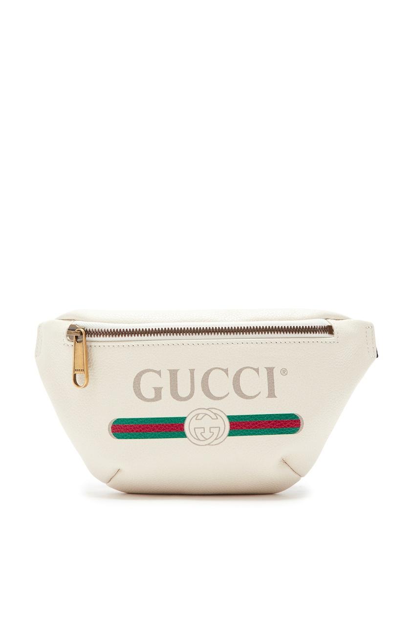 Шелковая поясная сумка цвета экрю от Gucci
