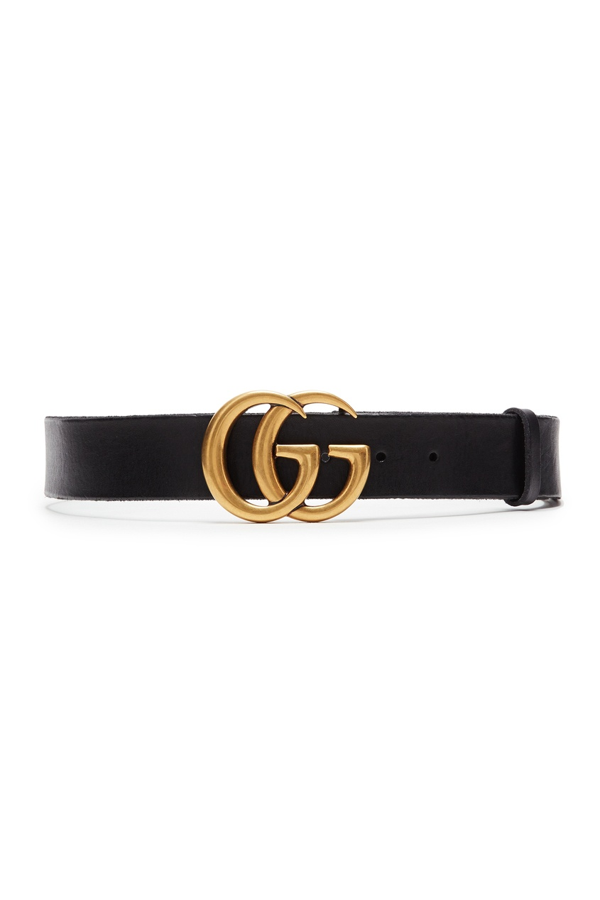 Купить со скидкой Черный широкий ремень с фирменным логотипом «Gucci»