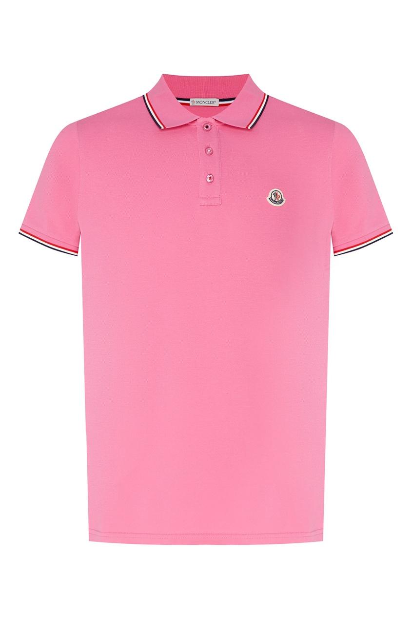мужское поло moncler, розовое