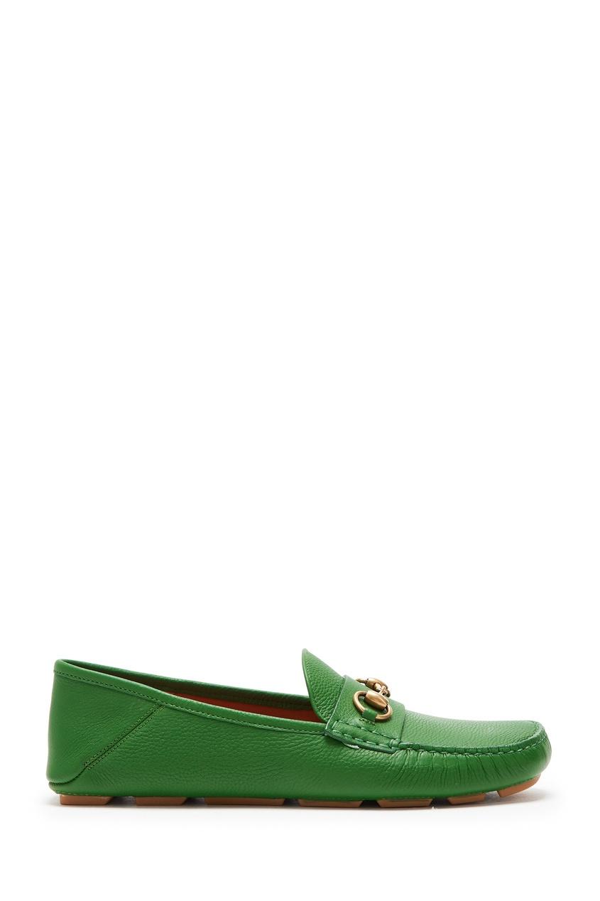 Зеленые кожаные мокасины