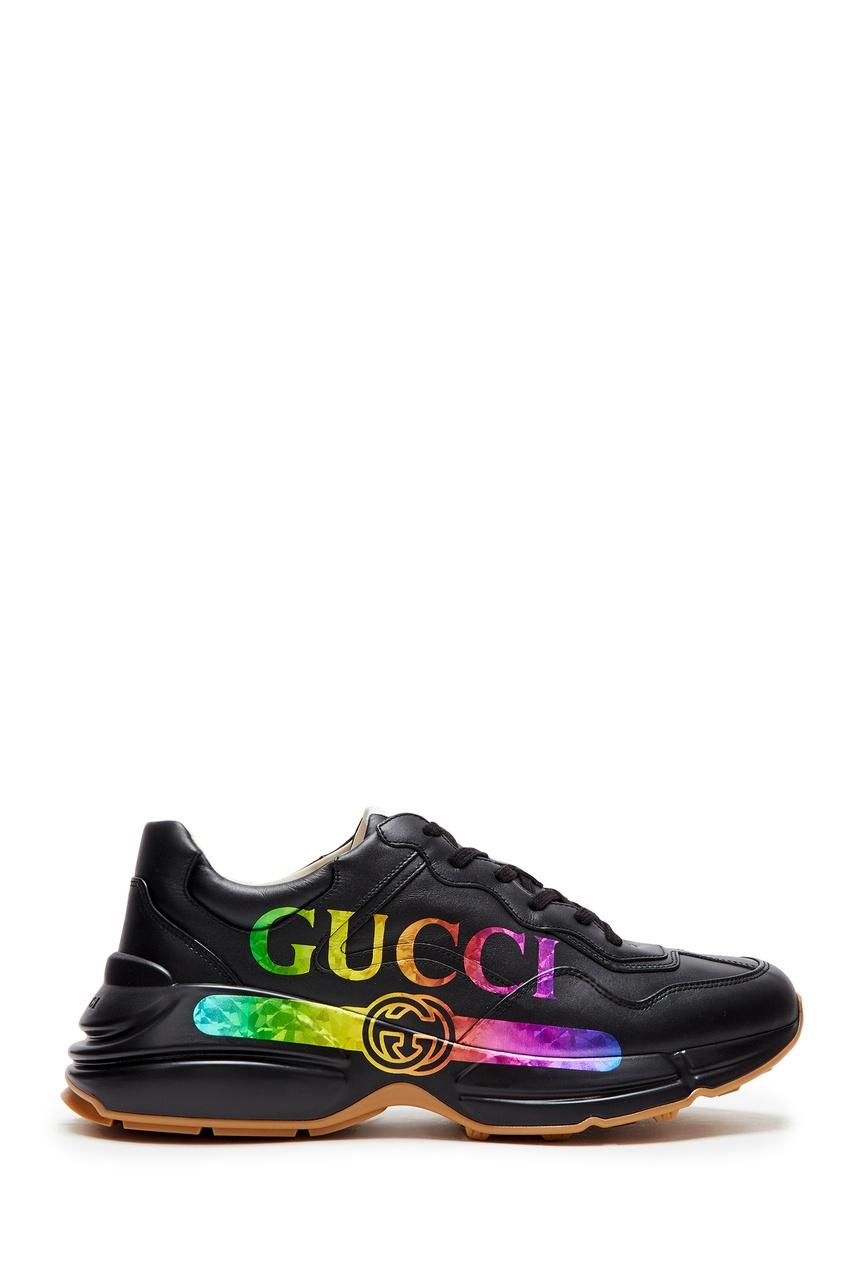 Черные кроссовки с разноцветным логотипом «Gucci»