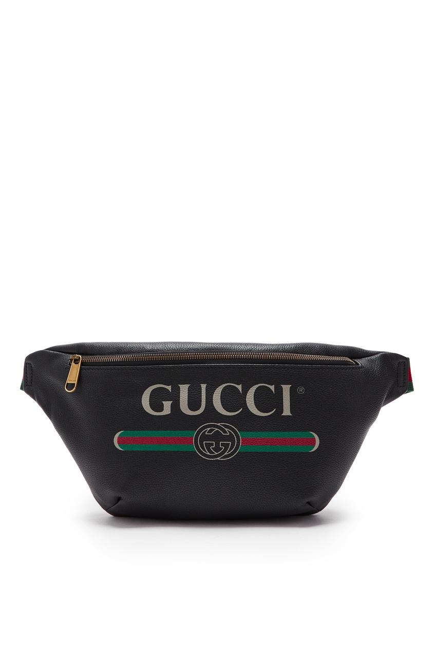 Черная кожаная сумка на пояс с логотипом от Gucci