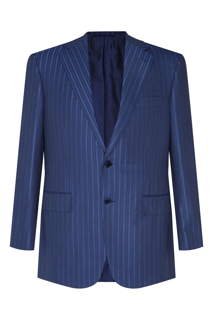 Синий костюм в полоску Stefano Ricci