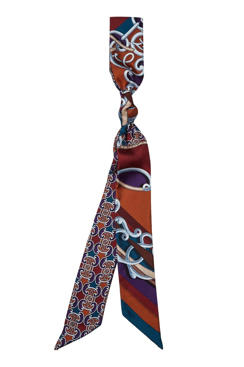 Купить Тонкий шелковый шарф с принтом от Fendi красного цвета