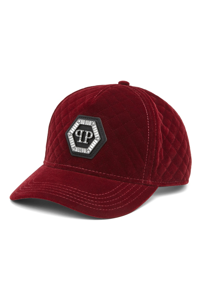 Купить Бархатная кепка бордового цвета от Philipp Plein черного цвета