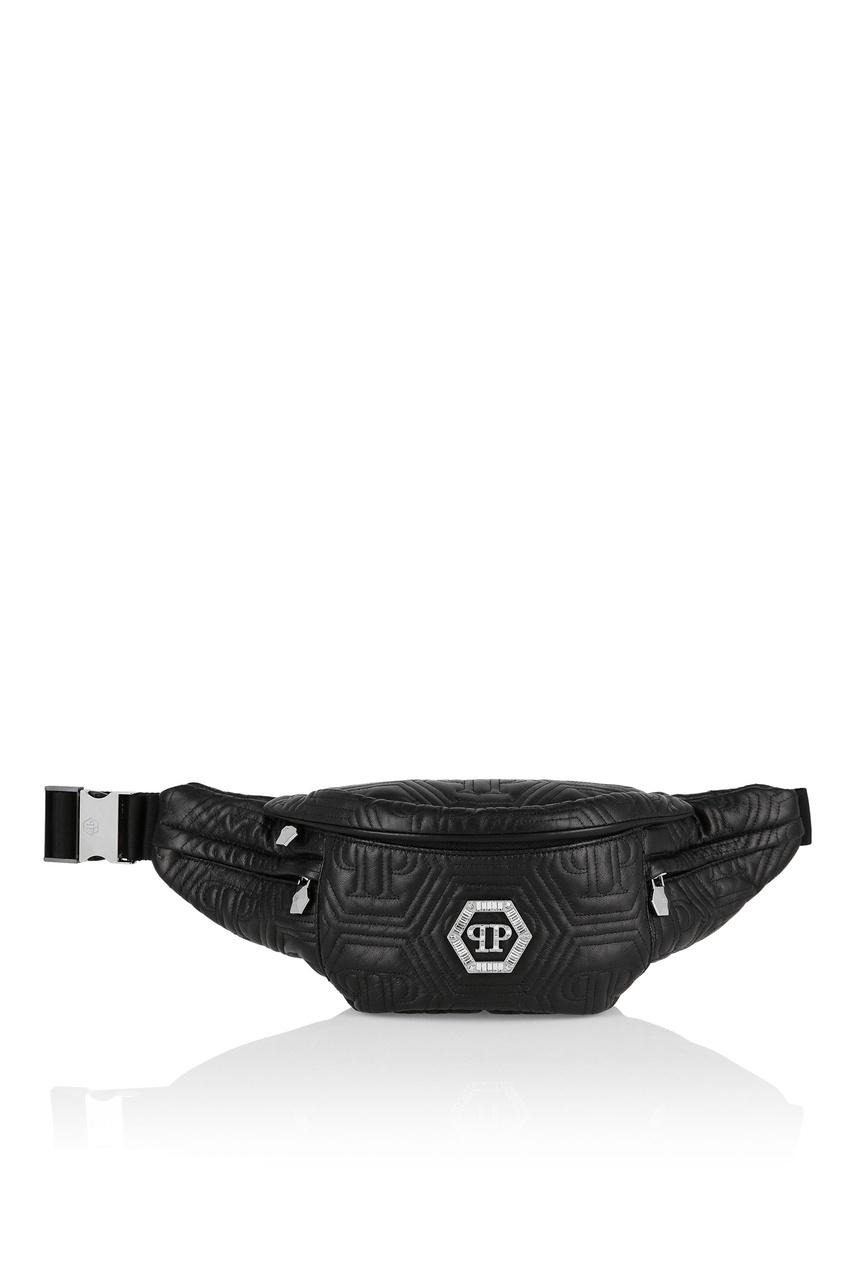 Купить Поясная сумка с шестиугольной стежкой от Philipp Plein черного цвета