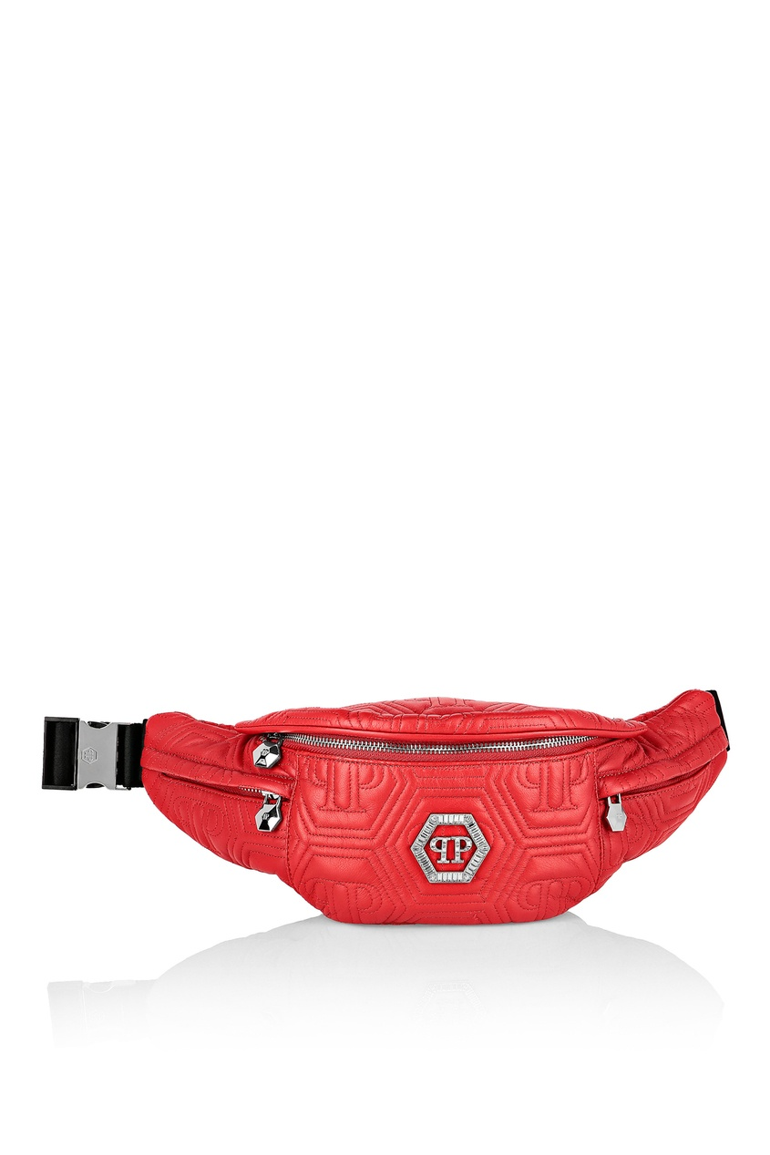 Купить со скидкой Красная сумка с геометричной стежкой