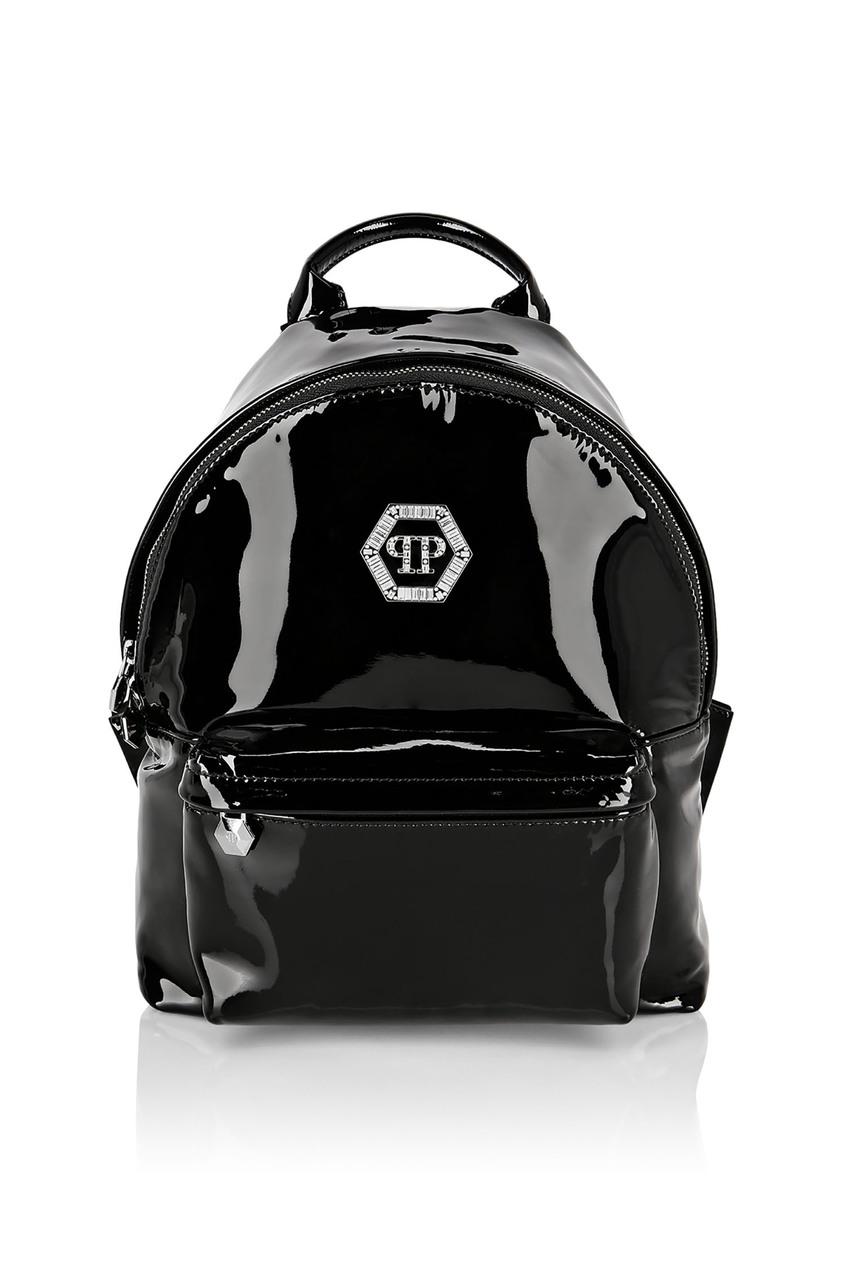 Купить Рюкзак из лаковой кожи с логотипом от Philipp Plein черного цвета