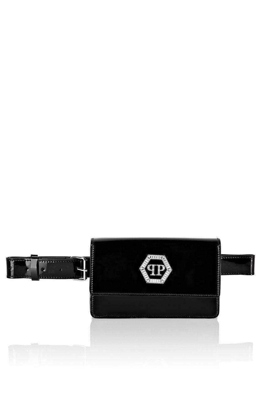 Купить Поясная сумка из лаковой кожи от Philipp Plein черного цвета