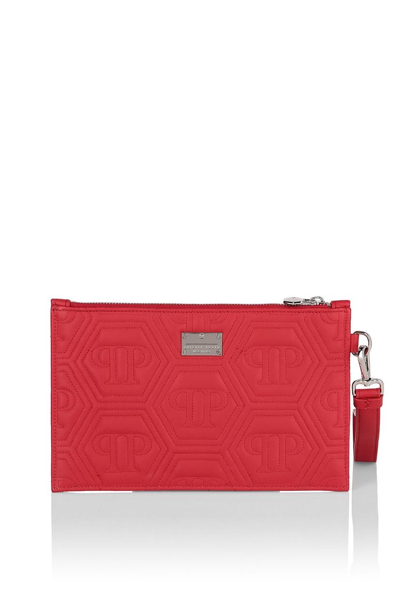 Купить Красный стеганый клатч с логотипом от Philipp Plein белого цвета