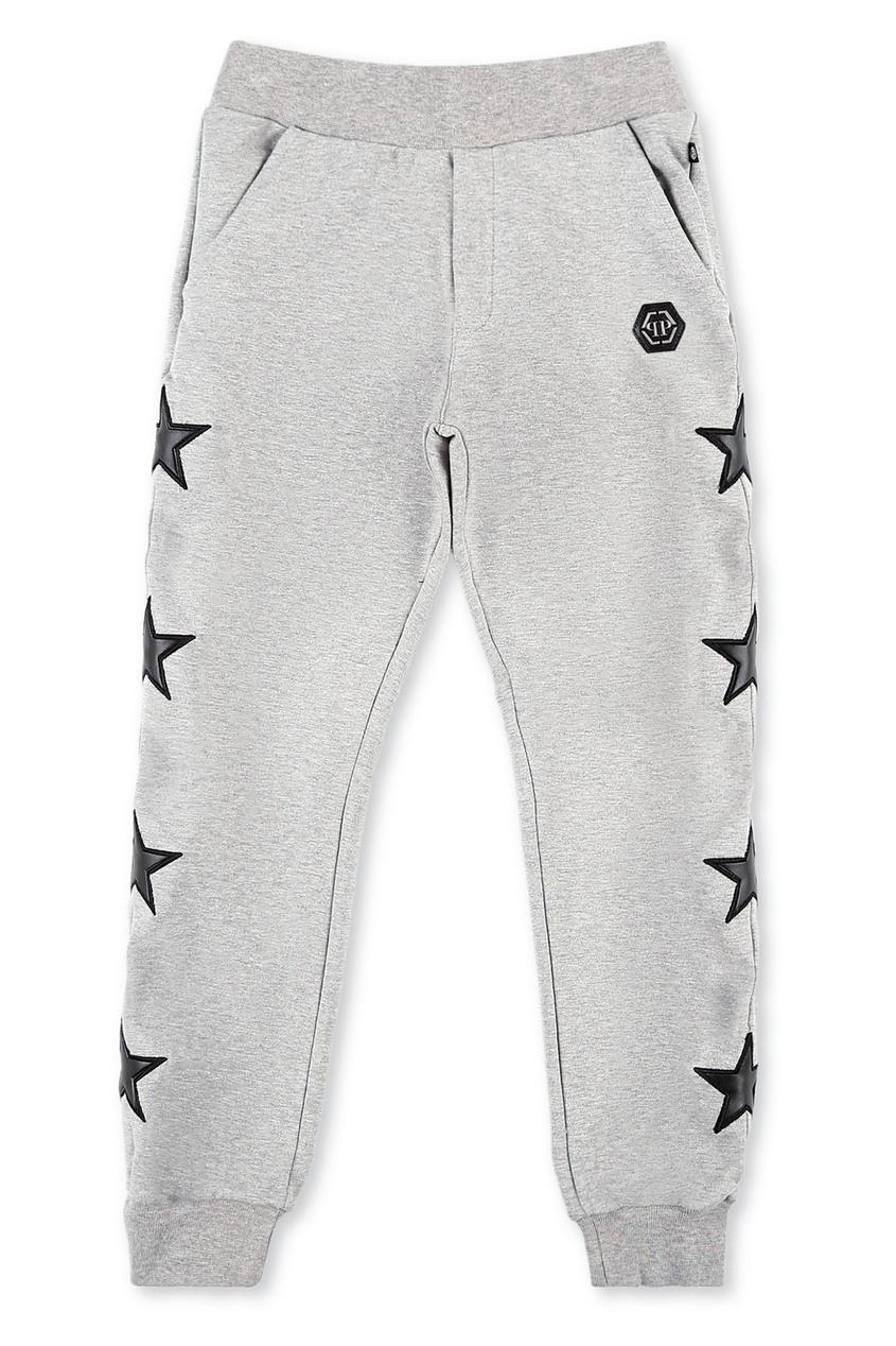 Серые брюки со звездами Philipp Plein Kids