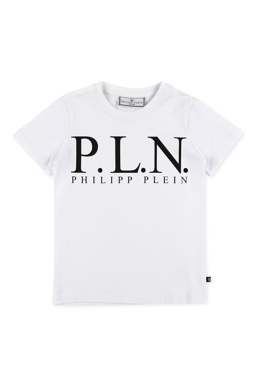 Белая футболка с крупным логотипом Philipp Plein Kids