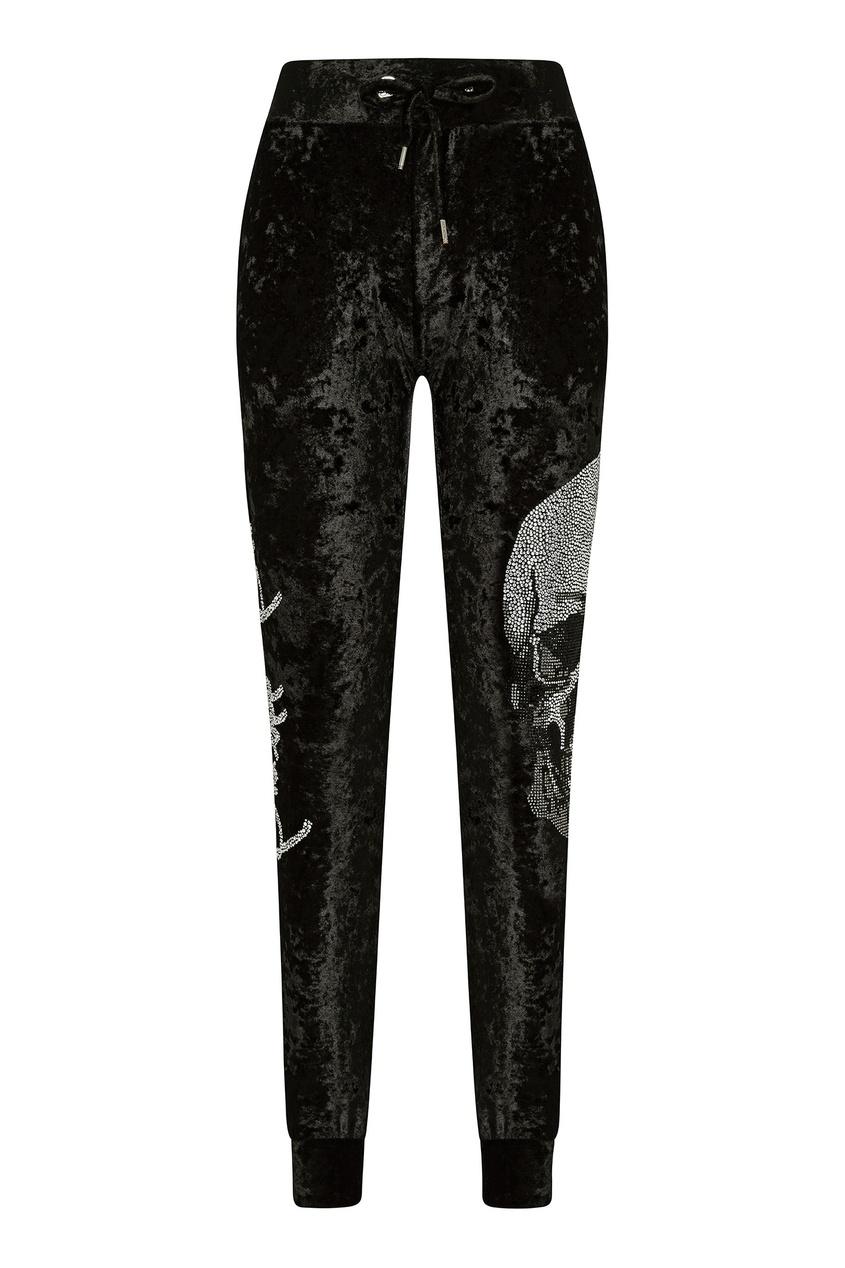 Купить Бархатные спортивные брюки с черепом от Philipp Plein черного цвета