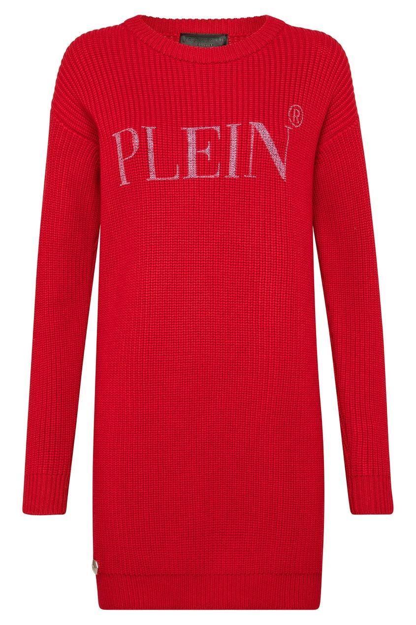 Купить Красное платье-джемпер крупной вязки от Philipp Plein розового цвета