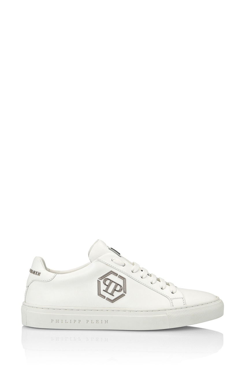 Купить Белые кеды с металлическим логотипом от Philipp Plein белого цвета