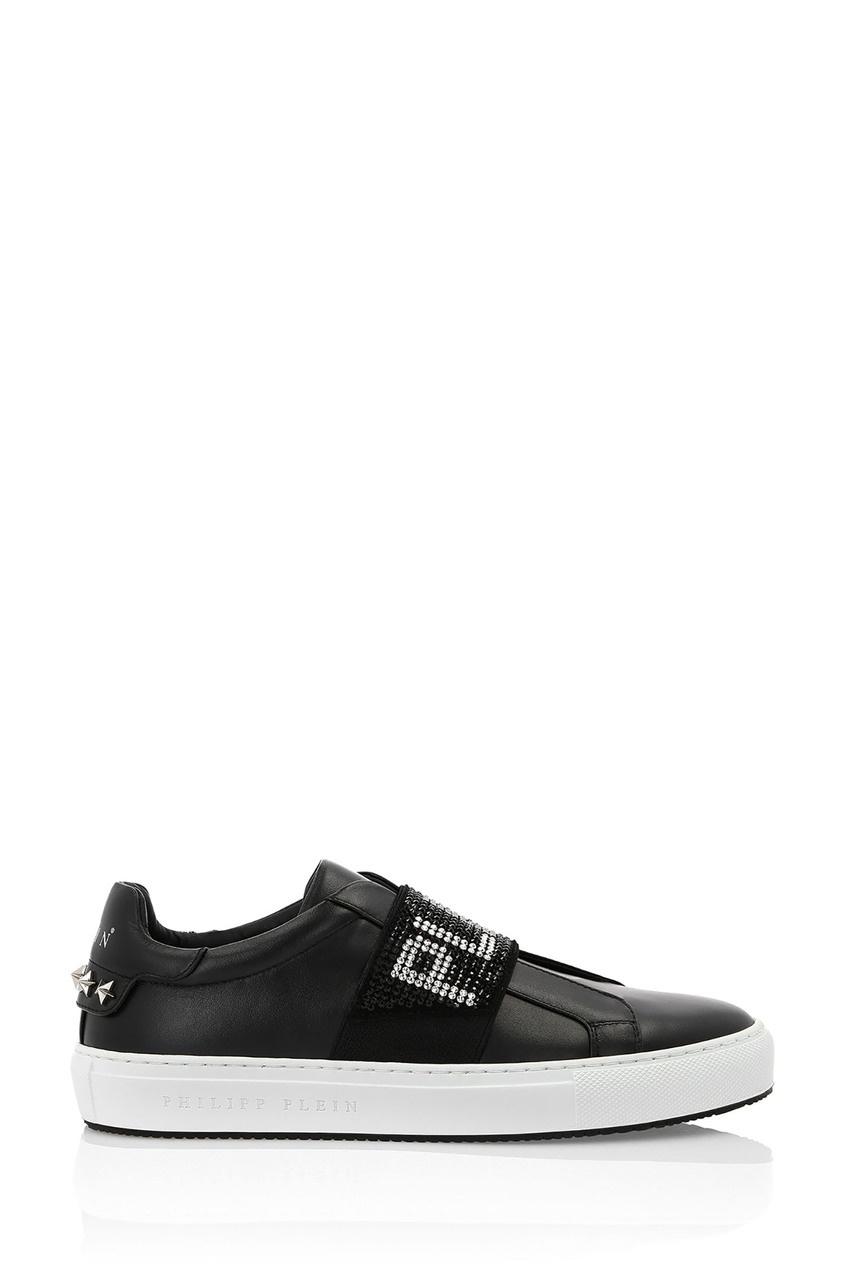Купить Черные кеды без шнуровки от Philipp Plein черного цвета
