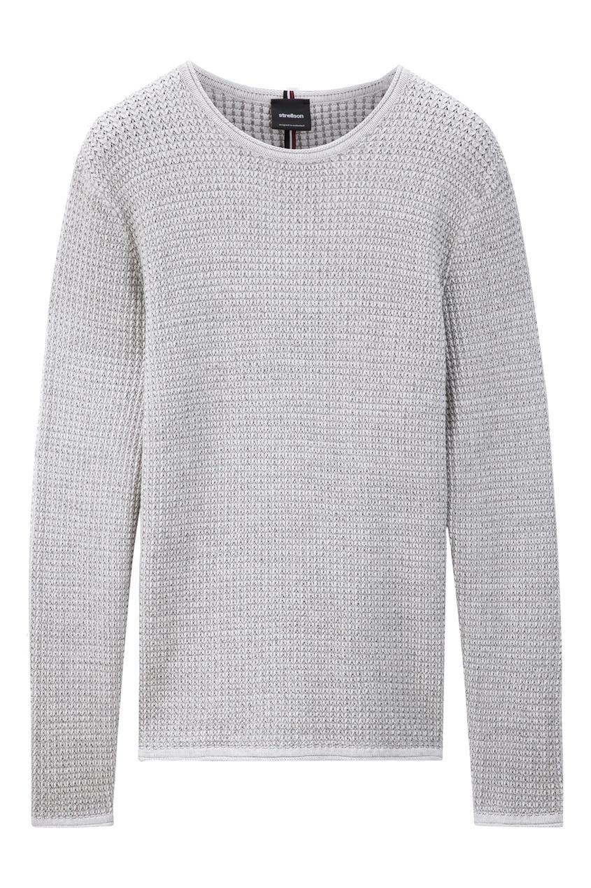 Купить со скидкой Серый свитер с круглой горловиной