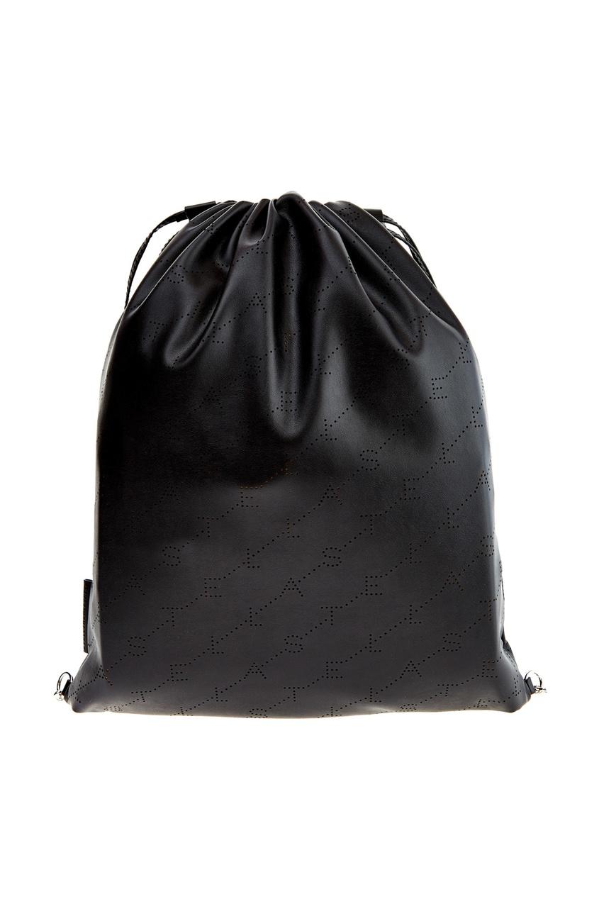 Купить Черный рюкзак-мешок с монограммами от Stella McCartney черного цвета