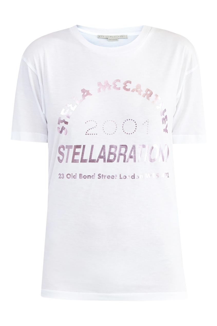 Купить Футболку с розовым глиттером Stellabration от Stella McCartney белого цвета
