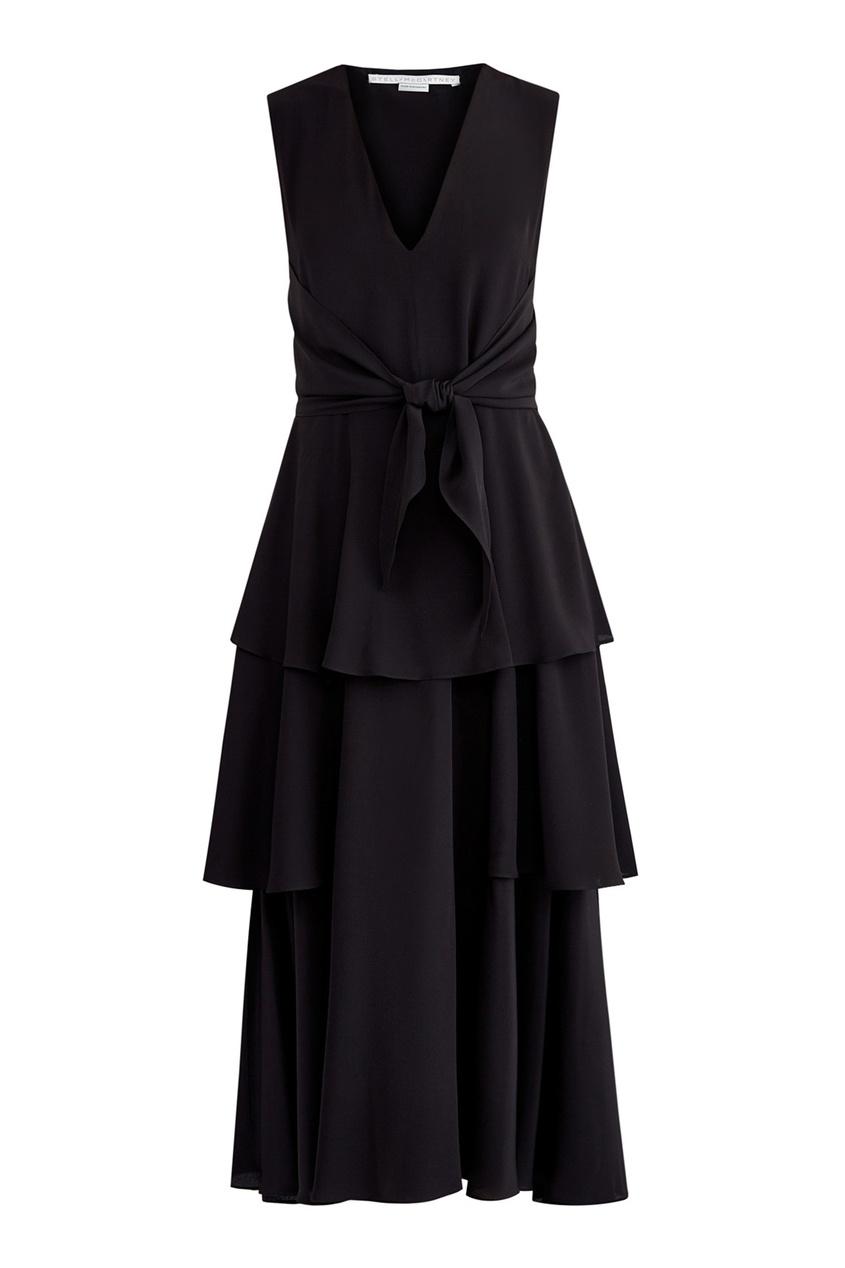 Купить Черное платье с ярусным подолом от Stella McCartney черного цвета