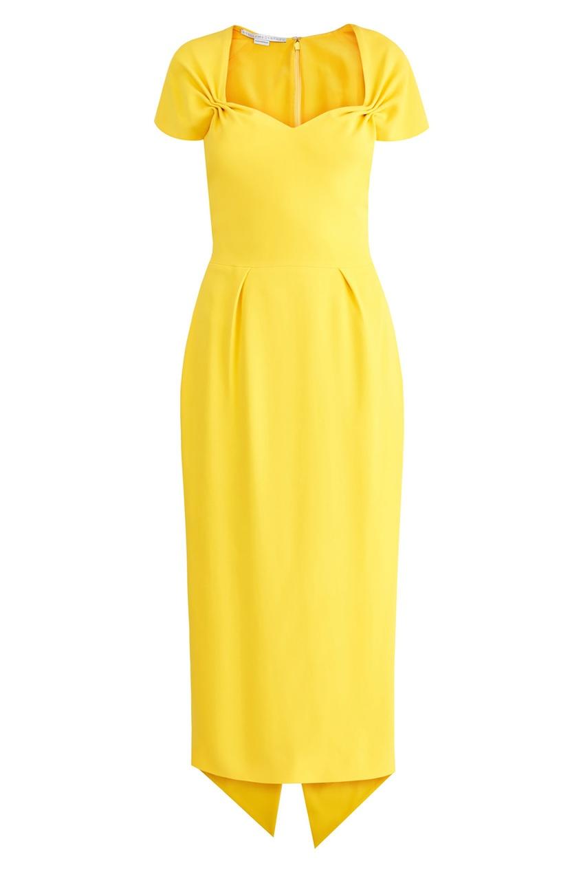 Купить Желтое платье с фигурным декольте от Stella McCartney желтого цвета