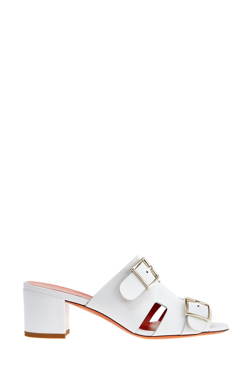Белые кожаные босоножки с пряжками от Santoni