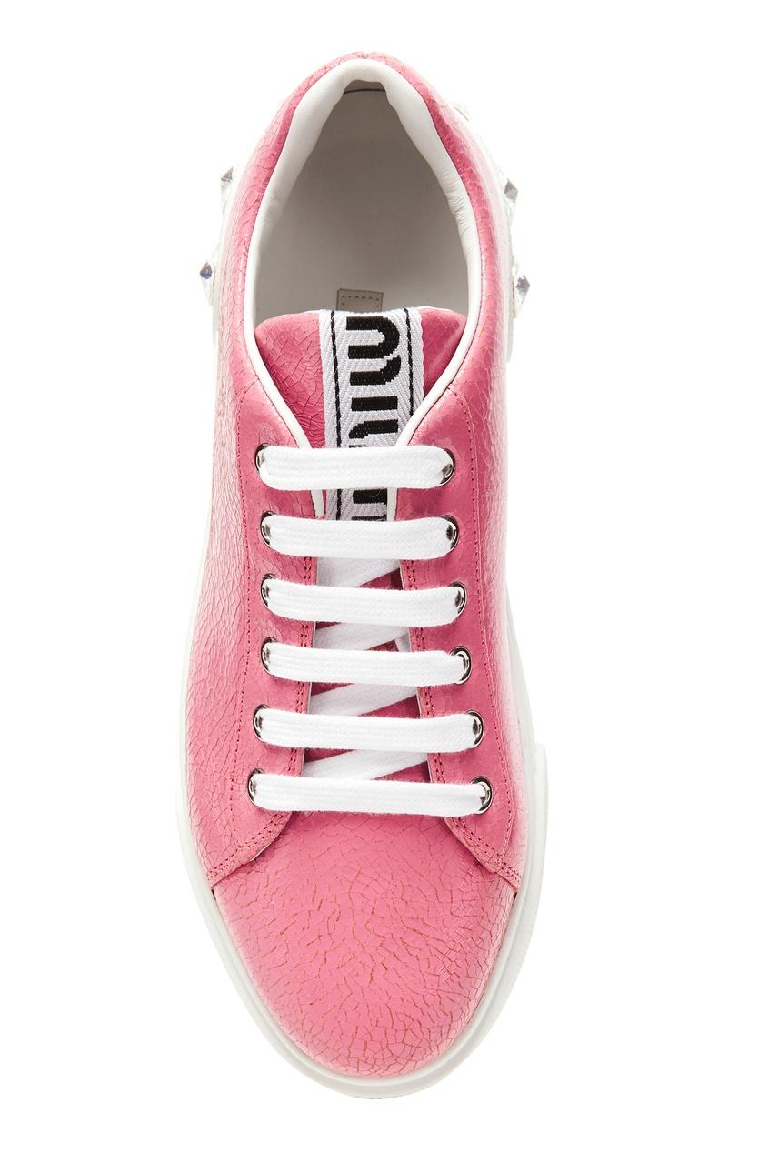 женские кроссовки miu miu, розовые